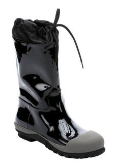 Miu Miu black patent leather and marble rubber mid-calf rain boots
