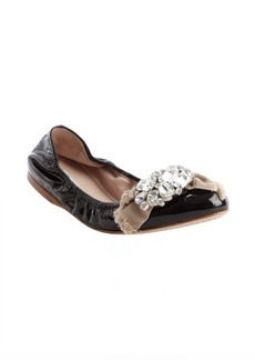 Miu Miu black patent leather jewel detail ballet flats