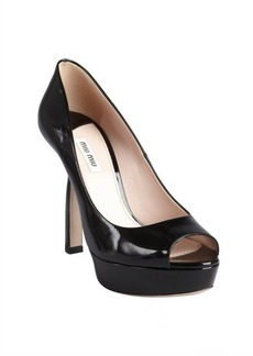 Miu Miu black patent leather peep toe platform pumps