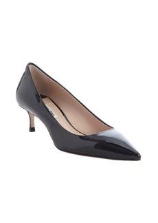 Miu Miu black patent leather pointed toe kitten pumps