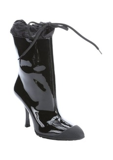 Miu Miu black patent leather pointed toe midcalf rain boots