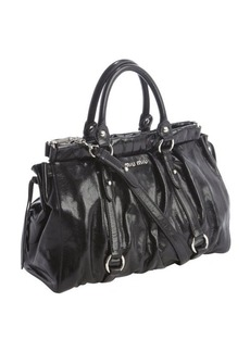 Miu Miu black pleated leather convertible bag