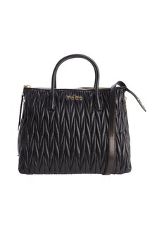 Miu Miu black quilted leather 'Bauletto' zip detail convertible tote