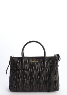 Miu Miu black quilted leather top handle zip side tote