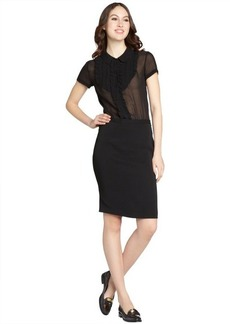 Miu Miu black sheer top peter pan collar silk dress