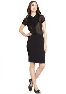 Miu Miu black sheer top peter pan collar silk dress