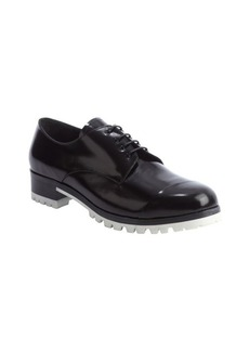Miu Miu black shined leather lace up oxfords with lug sole