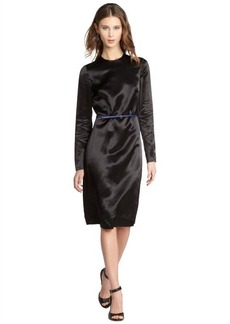 Miu Miu black shiny sateen long sleeve dress