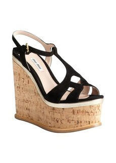 Miu Miu black suede and cork cutout platform wedge sandals