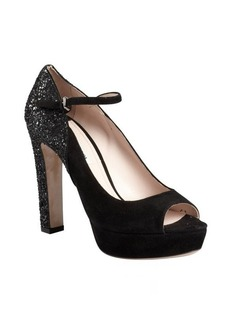 Miu Miu black suede and glitter ankle strap platforms