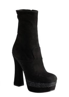 Miu Miu black suede and glitter colorblock square toe platform boots