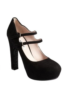 Miu Miu black suede and glitter sole double strap mary janes