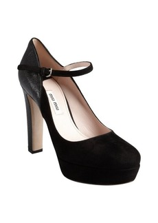 Miu Miu black suede and pebbled leather platform heels