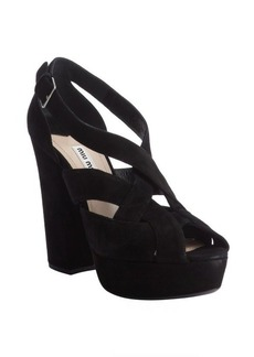 Miu Miu black suede ankle strap peep toe pumps