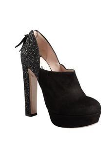 Miu Miu black suede glitter heel platform pumps