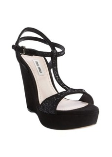 Miu Miu black suede glitter T-strap wedge sandals