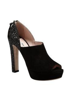 Miu Miu black suede peep toe glitter heel platform pumps
