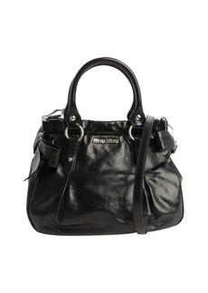 Miu Miu black washed leather top handle tote