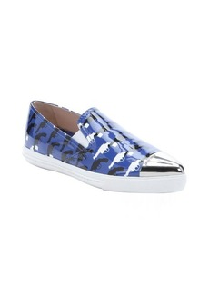 Miu Miu blue and black gun printed patent leather slip on sneakers