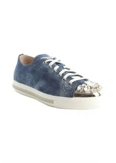 Miu Miu blue canvas jewel studded cap toe sneakers