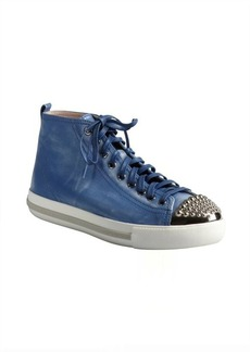 Miu Miu blue distressed leather and studded cap toe sneakers