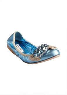 Miu Miu blue leather jewel and bow embellished toe ballet flats