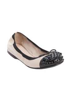 Miu Miu blush and black patent leather studded bow tie accent ballet flats