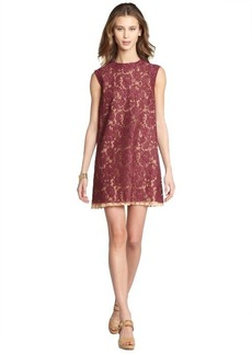 Miu Miu bordeaux cotton lace a-line dress