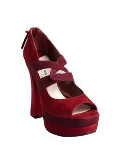 Miu Miu bordeaux suede platform sandals