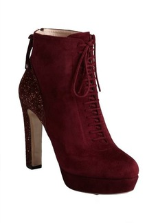 Miu Miu burgundy suede glittered heel lace-up ankle boots