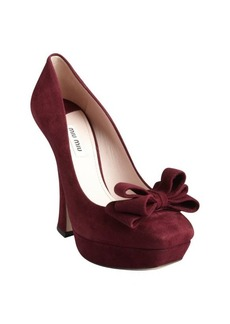 Miu Miu burgundy suede layered bow platform pumps