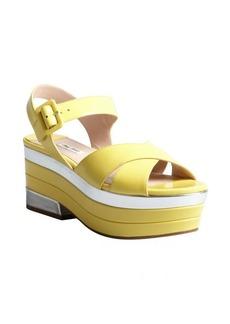 Miu Miu canary and silver patent leather platform sandals