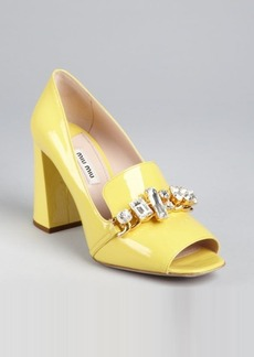 Miu Miu canary patent leather jewel embellished loafer pumps