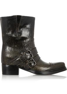 Miu Miu Cracked-leather biker boots