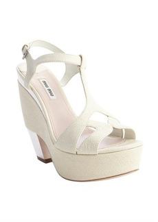 Miu Miu cream textured leather t-strap mirror heel platforms