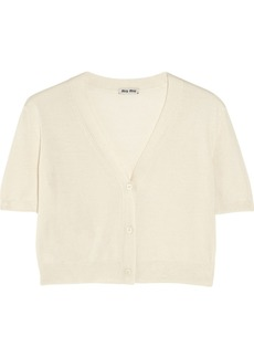 Miu Miu Cropped cashmere and silk-blend cardigan