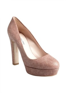 Miu Miu dusty rose pebbled leather platform pumps