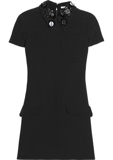 Miu Miu Embellished-collar cady mini dress