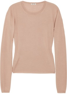 Miu Miu Fine-knit cashmere and silk-blend sweater
