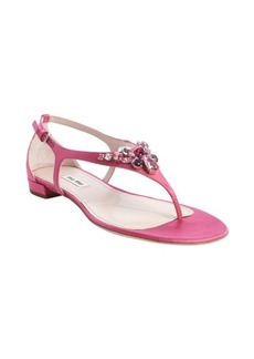 Miu Miu fuchsia nylon thong strap jewel studded sandals