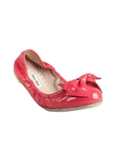 Miu Miu fuchsia patent leather glitter trimmed bow ballet flats