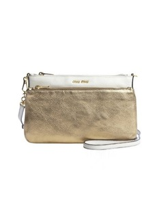 Miu Miu gold and white leather logo imprinted double pocket convertible clutch