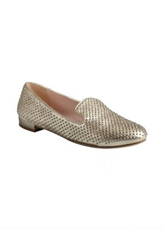 Miu Miu gold leather crystal studded loafers