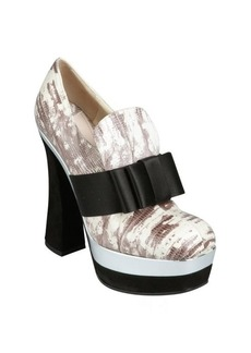 Miu Miu ivory and black snake embossed leather bow loafer heels