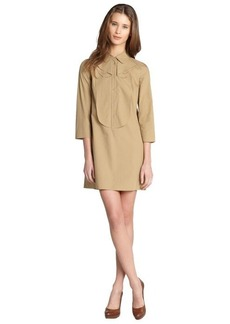 Miu Miu khaki cotton button down long sleeve mini dress