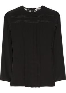 Miu Miu Lace-back silk crepe de chine blouse