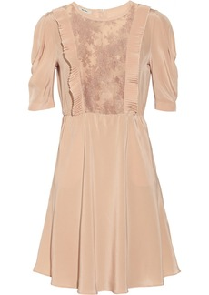 Miu Miu Lace-insert silk crepe de chine dress