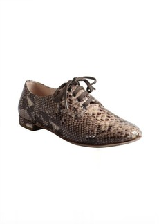 Miu Miu light pink python embossed patent leather oxfords