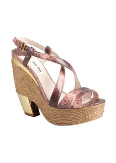 Miu Miu light rose snake embossed leather platform sandals
