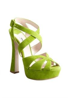 Miu Miu lime suede crisscross strapped platform sandals